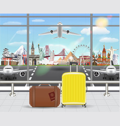 suitcase in airport with airplane travel landmark vector image