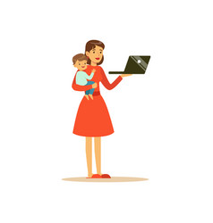 Super mom character with child holding laptop vector