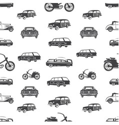 Surfing transport seamless pattern retro surf car vector