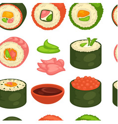 Sushi japanese cuisine seamless pattern ginger and vector