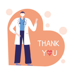 Thank you doctors and nurses physician with mask vector