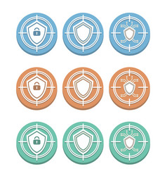 Three degrees of protection set of round icons vector