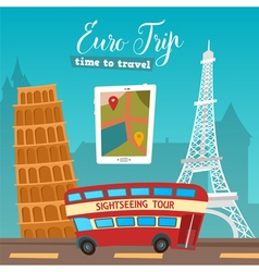 Time to Travel by Bus Euro Trip Travel banner vector image