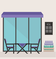 Trendy hipster restaurant terrace table and vector