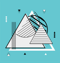 triangle geometric elements memphis background vector image