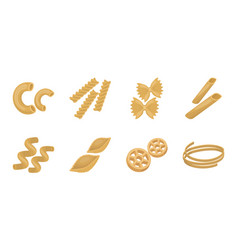 types of pasta icons in set collection for design vector image
