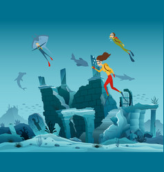 Underwater ruins of the old city diver explorers vector