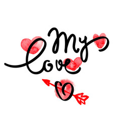 valentine day lettering love poster vector image