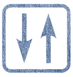 Vertical exchange arrows fabric textured icon vector