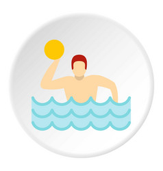 Water polo player in swimming pool icon circle vector