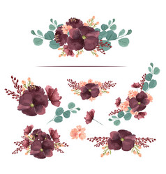 Watercolor bouquets florals hand painted lush vector