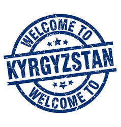 Welcome to kyrgyzstan blue stamp vector