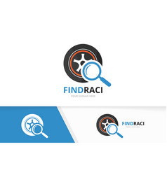 Wheel and loupe logo combination tire vector