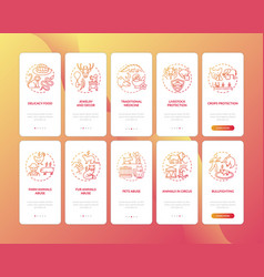 Wildlife conservation red onboarding mobile app vector
