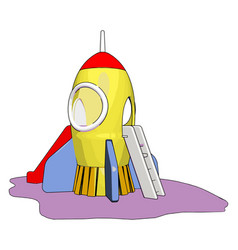 Yellow rocket toy on white background vector