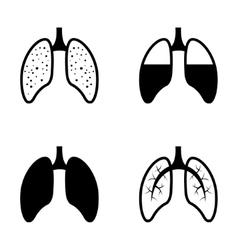 black human lung icons set vector image