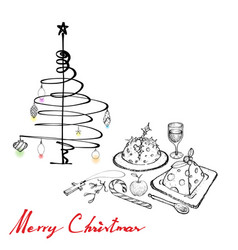 christmas dinner with pudding wine and dessert vector image vector image