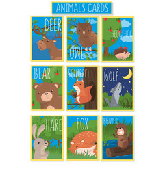 collection of cards with cute forest animals vector image