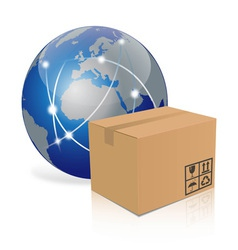 earth with cardboard box vector image vector image