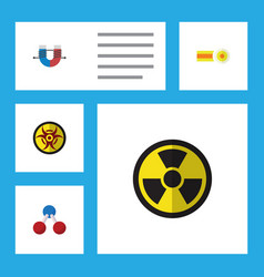 flat icon study set of nuclear irradiation vector image