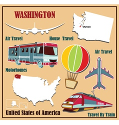 Flat map of Washington vector image vector image