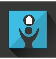 man happy silhouette with house icon vector image