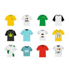 tshirt icon set flat style vector image