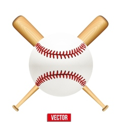 baseball leather ball and wooden bats vector image vector image
