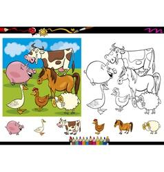 farm animals coloring page set vector image vector image