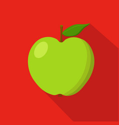 green apple flat icon vector image