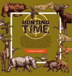 hunt club hunting open season sketch poster vector image vector image