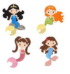 set of cute girl mermaids set of cute girl vector image