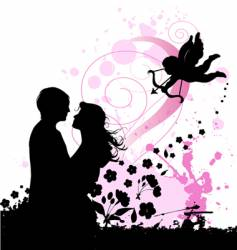 Valentines background with cupid vector