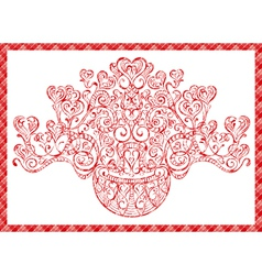card bouquet of hearts vector image vector image
