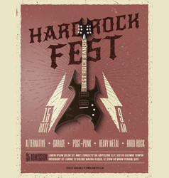 hard rock music festival flyer poster vector image vector image