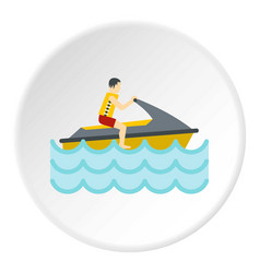jet ski rider icon circle vector image vector image