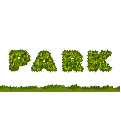park letters leaves vector image vector image