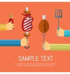 Barbecue grill poster design template vector image vector image