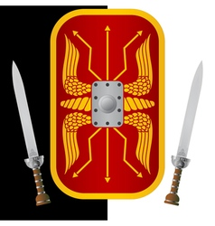 fantasy shield and sword vector image vector image