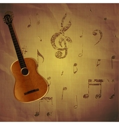 guitar on paper background with music notes vector image