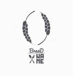 Hand drawn silhouette of wheat stalks vector