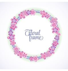 Spring circle frame with flowers and place for vector image vector image