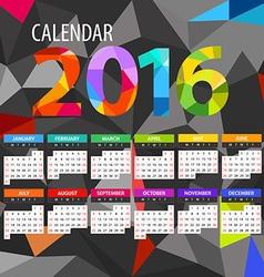 2016 year color calendar template vector image