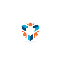 3d cube technology logo vector image