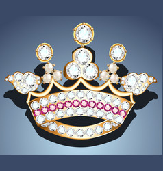 a jewelry brooch in form a crown vector image