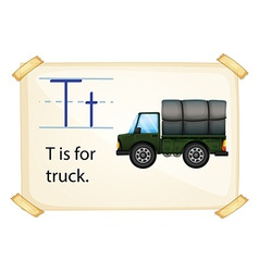 A letter T for truck vector image