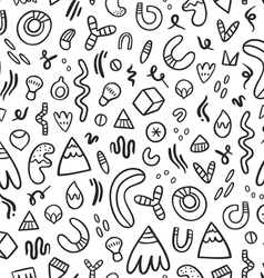 Abstract black doodles seamless pattern vector image