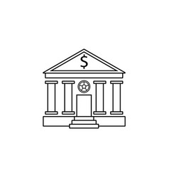 bank building line icon banking house vector image