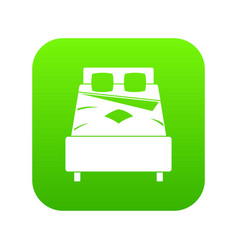 bed icon digital green vector image