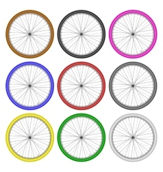 bicycle wheels different color set on white vector image